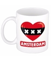 Amsterdamse vlag hartje theebeker 300 ml