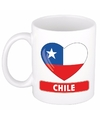 Chileense vlag hartje theebeker 300 ml