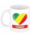Congolese vlag hartje theebeker 300 ml