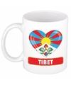 Tibetaanse vlag hartje theebeker 300 ml