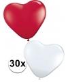 Valentijn hartjes ballonnen rood/wit 30 st