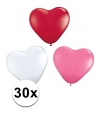 Valentijn hartjes ballonnen roze/wit/rood 30 st